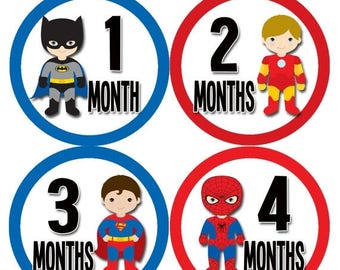 Baby Boy Monthly Baby Stickers Baby Month Stickers Superhero Month Stickers Monthly Photo Stickers Monthly Milestone Stickers 808
