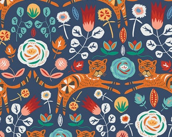 Tigris in Indigo by Jessica Swift from the Tallin collection for Art Gallery #TAL-65300 by 1/2 yard