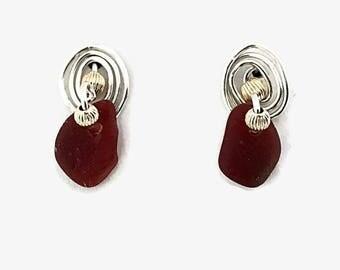 Red Sea Glass Stud Earrings, Mixed Metal Jewelry,  Beach Glass Post Earrings, Mermaids Tears