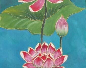 Acrylic on canvas - lotus flowers