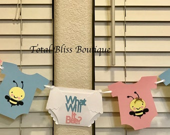 Gender Reveal Baby Shower What Will It Bee Banner Bumble