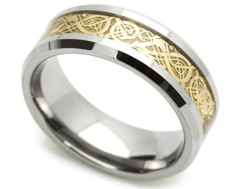 9MM Comfort Fit Tungsten Carbide Wedding Band Gold Tone Celtic Dragon Inlay Ring(CT478RTN)