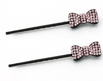 Hand Made Hair Jewelry Pair of Bobby Pins with Little Bow, Pink Rhinestone(SO6093-pk)