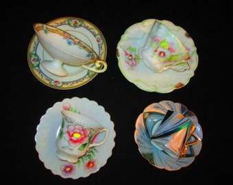 4 Demitasse Sets of Cups and Saucers All Vintage
