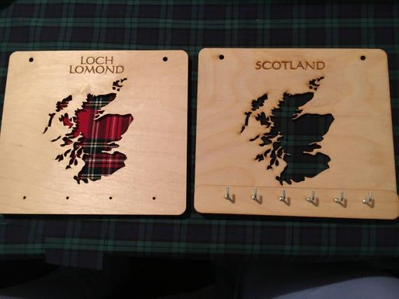 Scotland key holder,keys,key ring, Tartan,Scottish, wood,Christmas,gift