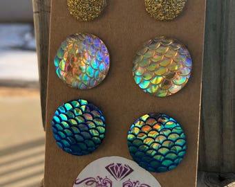 Druzy stud earrings charms mermaid charms deuzy earrings mermaid earrings mermaid jewelry nickle free warrings gold earrings 20mm earrings