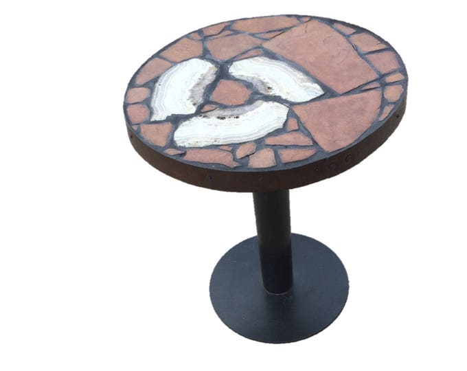 "The Creede Whirlpool, a 25"" diameter x 30 1/2 tall folk art table. My 32nd table."
