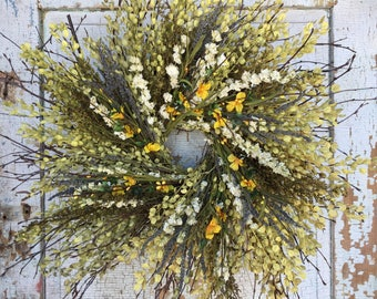 """Natural Birch Twig, Sweet Annie, Lavender and Yellow Floral Wreath - 26"""""""