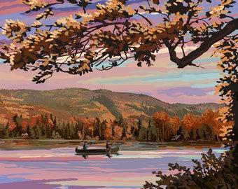 Squam Lake, New Hampshire - Lake at Dusk - Lantern Press Artwork (Art Print - Multiple Sizes Available)