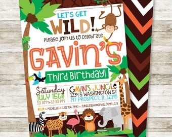 "Jungle Birthday Party Invitation - Let's Get Wild Jungle Birthday Party, DIY Personalized Printable Invitation, 5"" x 7"""