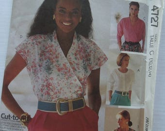 McCalls 4727, Sew News, sizes 10-14, blouses, UNCUT sewing pattern, craft supplies, misses, womens