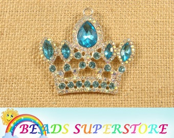 42 mm x 51 mm Princess / Royal Queen Crown Rhinestone Pendant - Chunky Necklace Pendant (RCP03)