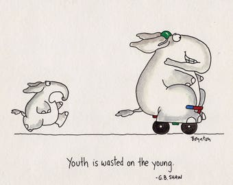 """SANDRA BOYNTON """"Youth is Wasted on the Young"""" 1990 Workman Publishing Print Vintage Framed 8X10 Greeting Card Birthday Card Grandparent Card"""