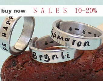 Personalized Adjustable Ring  Stack rings  Stacking rings.. Couples ring.. hand stamped ring.. Personalized on both Sides..