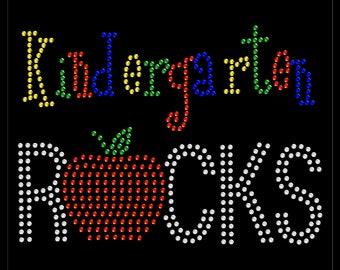 Kindergarten Rocks School 100 Days Rhinestone Iron On Transfer Hotfix Bling