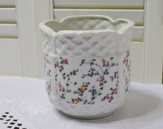 Vintage Enesco Ceramic Planter Multicolored Floral Pattern Basketweave Border 1975 Flower Pot Japan PanchosPorch