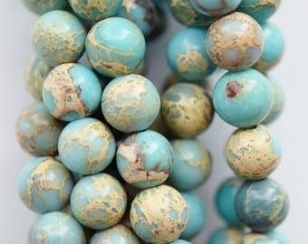 "Sea Sediment Imperial Jasper Beads - Round 6 mm Gemstone Beads - Full Strand 16"", 65 beads, item 16"