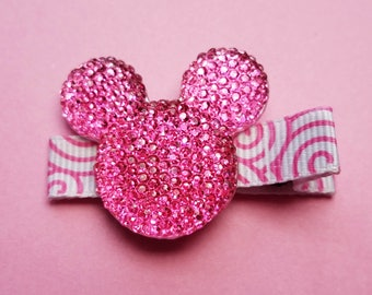 Pink Minnie Mouse Hair Clip/Disney Inspired/Girl's Hair Clip/Baby Girl//hair clip/hair bow/Princess/Pink Jewel