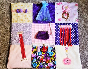 Fidget Blanket Fiddle quilt/  activity sensory busy/ Dementia Alzheimers Stroke Autism Brain Injury