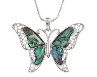 Tide Jewellery Paua Shell Butterfly Pendant Gift Boxed