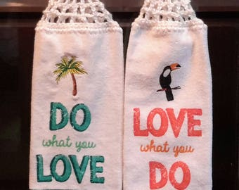 2 New Hanging kitchen towels with crocheted top /DWYL