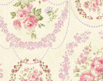 7/8 Yard REMNANT Ellie Ann - Garlands in Pink - Floral Cotton Quilt Fabrics - by Eleanor Burns for Benartex Fabrics - 1228-12 (W2331)