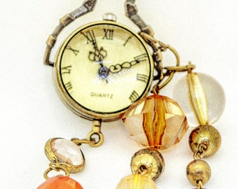 Upcycled vintage pendant watch, steampunk jewelry, quirky hippy chic necklace, Boho gift for her. Statement necklace.