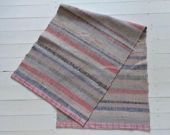 RR1808 Vintage Swedish Ragrug in Pastels Grey Blue Pink Stripey