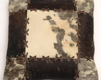 Natural Cowhide Luxurious Patchwork Hairon Cushion/pillow Cover (15''x 15'')a191