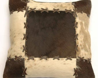 Natural Cowhide Luxurious Patchwork Hairon Cushion/pillow Cover (15''x 15'')a199
