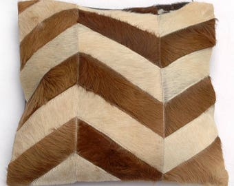 Natural Cowhide Luxurious Patchwork Hairon Cushion/pillow Cover (15''x 15'')a232
