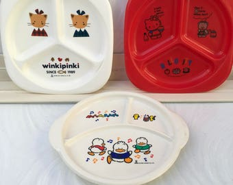 Vintage Trio of Hello Kitty, Pekkle and Winkipinki plates