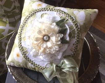 Handmade Pillow - Novelty Pillow - Lime Green Pillow - Lace Pillow - Victorian Pillow