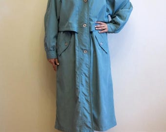 ON SALE Peppermint Green Womens Trench Coat Peppermint Raincoat Oversized Lightweight Coat Raglan Sleeves Womens Overcoat Extra Large Size