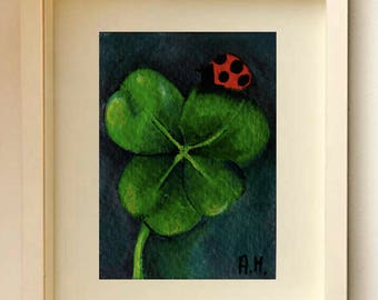 4 Leaf Clover Ladybug Original ACEO Acrylic painting Clover Art Card Miniature card Clover painting Good Luck ACEO Miniature artwork