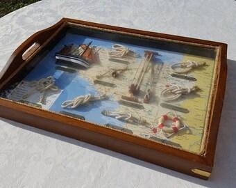 French vintage Nautical Shadow box  as serving tray, Nautical Art ,Marine Knots,Rustic Beach Decor