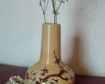 Pretty Asian Yellow Vase With Cherry Blossoms  Signed