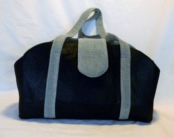Faux black leather Pet purse carrier