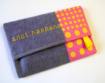 Travel Tissue Holder, Pocket Tissue Case, Tissue Pouch, Snot Happens Tissue Pouch, Tissue Cozy, Travel Tissue Case, Yellow Spots on Pink