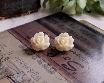 Flower Cabochon earrings Lucite flower Creamy white rose stud earrings Titanium Post made in USA