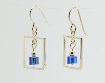 Sapphire Blue Swarovski Crystal Frame Earrings / Sterling silver and crystal dangle earrings / September birthstone earrings / Gift for her