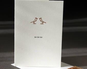 xo xo xo, letterpress printed