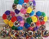 Paper Flower wedding bridal bouquet alternative bright rainbow rose marvel dc superhero comic book geek