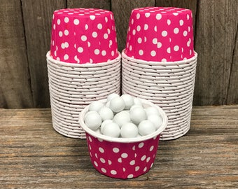 Hot Pink Paper Snack Cups - Set of 48 - Dot Candy Cup - Birthday Party - Mini Ice Cream Cups - Paper Nut Cup - Same Day Shipping