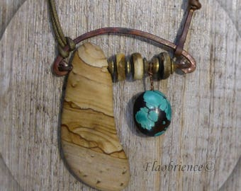 Necklace Jasper and turquoise by flaobrience jeweler montpellier