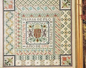 CROSS STITCH PATTERN - Antique Spanish Needlework Sampler Cross Stitch Pattern - Alphabet Sampler - Number Sampler