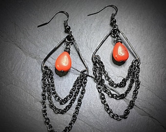 Black Chain Earrings with Red Magnesite, Black Earrings, Red Stone, Goth Earrings, Chain Earrings, Magnesite Gemstone Earrings, Gothic Gift
