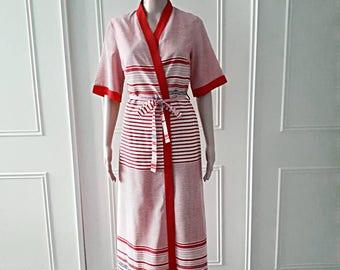 1970's vintage robe stripey robe 70's red robe vintage maxi length robe vintage summer robe short sleeved robe vintage dressingown size 14