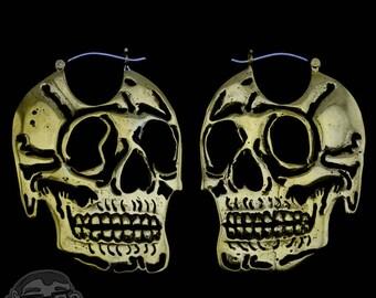 18G Skull Brass Earrings / Weights