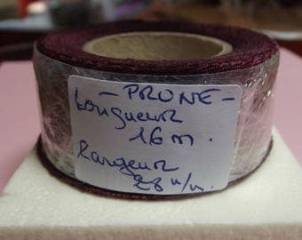 SATIN Ribbon polyester 25 meters, color plum 28mm wide for craft and sewing